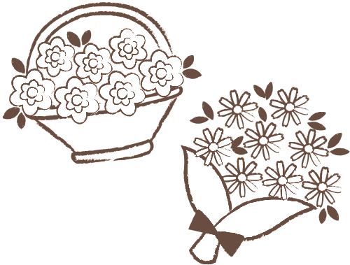 花かごと花束